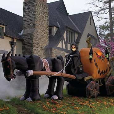 Inflatable 15' Halloween Grim Reaper & Pumpkin Carriage