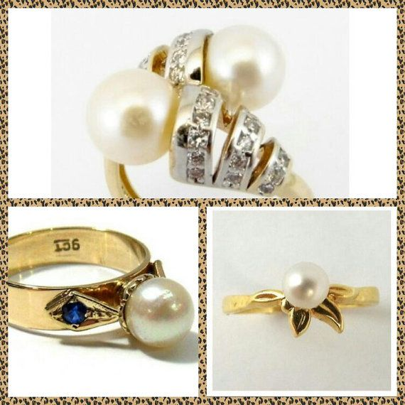 Pearl Rings, Diamonds, 18K Gold and White Gold, Various Sizes