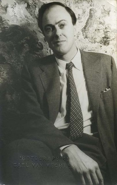 Roald Dahl, photographed by Carl Van Vechten in 1954. Children's author Roald Dahl wrote the kids' classics Charlie and the Chocolate Factory and James and the Giant Peach, among other famous works.