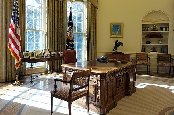 Have a desk made out of boat timbers, similiar to the one in the Oval Office made of timbers from the HMS Resolute.