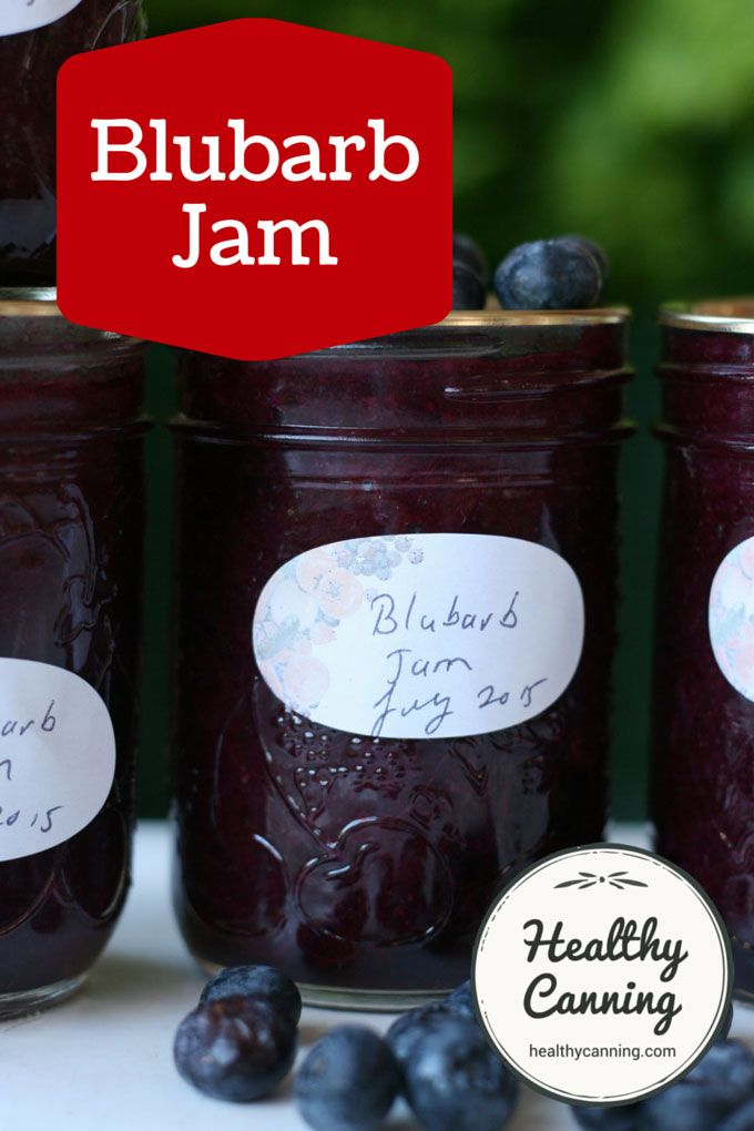 Blubarb Jam. A really unique flavour combination jam. And because it's sugar-free, it's all the goodness of the fruits, with no downsides. It's so low in calories that no one needs to worry about even counting a few tablespoons of it. #canning