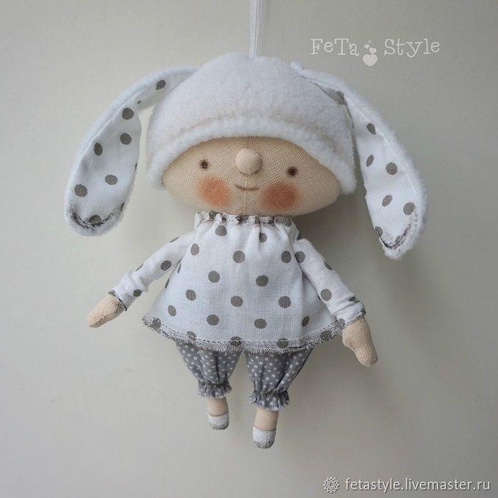 Купить Зайка Белый Игрушка на Елку Кукла текстильная - подарок на новый год, подарок на рождество