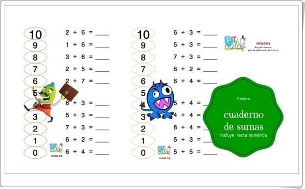 Cuaderno de sumas inicial con recta numérica (Aulapt.org)
