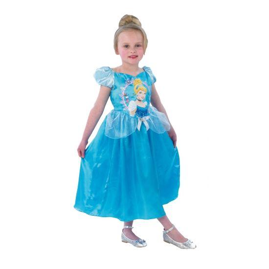 Assepoester kostuum voor meisjes. Blauwe prinsessen jurk voor kinderen met op de voorkant een afbeelding van Assepoester. Carnavalskleding 2015