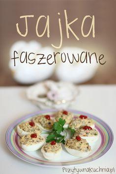 Jajka faszerowane pieczarkami - #przepis na jajka faszerowane na imprezę  http://pozytywnakuchnia.pl/jajka-faszerowane/  #grzyby #pieczarki #przekaski #kuchnia