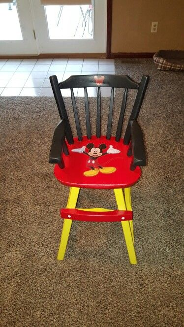 Custom painted wooden Mickey mouse high chair.