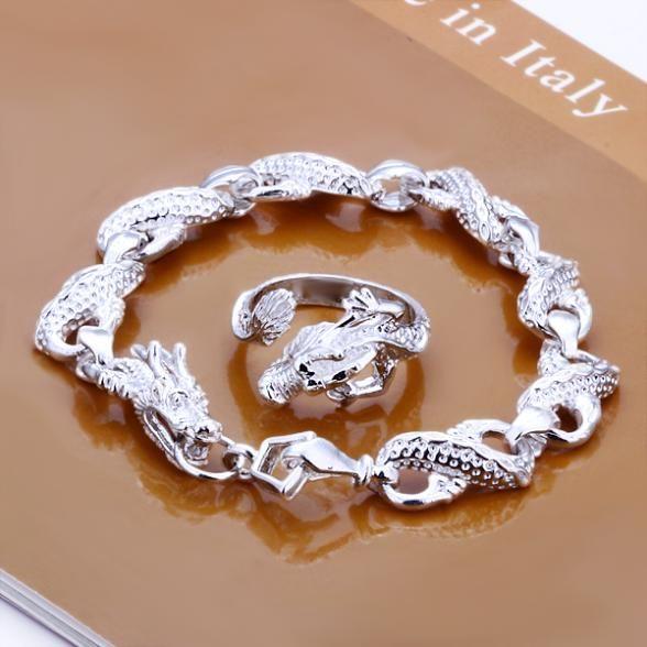 Бросился прямых продаж романтический ювелирные комплект 925 ювелирные изделия комплект, Комплект маленький дракон кольцо браслеты комплект
