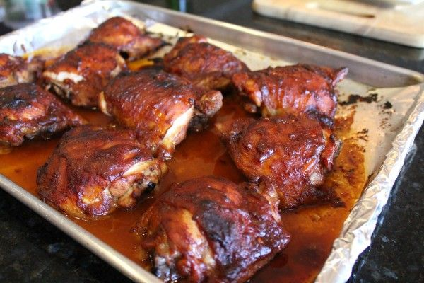 Oven-Roasted-Chicken-With-Apple-Butter-Barbecue-Sauce- this was delicious! I used thighs but I'd love to do wings!