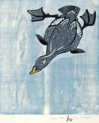 Diving Scoter - Linoleum & Woodblock Print by Holly Meade