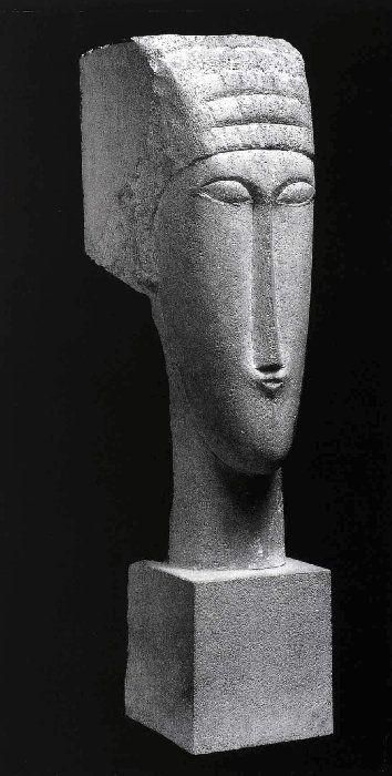 Amédéo Modigliani - Modern Art - Sculpture - Tête de grès calcaire - 1912
