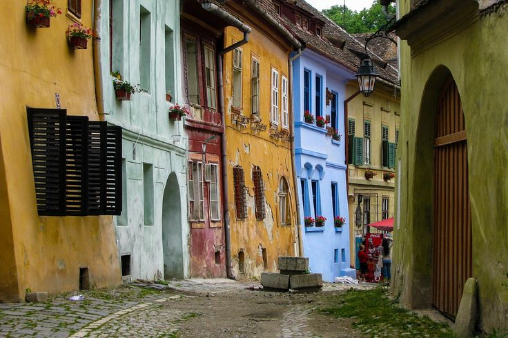 A medieval street from Sighisoara city.