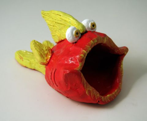 5th grade.  Bigmouth fish pinchpot clay project for kids