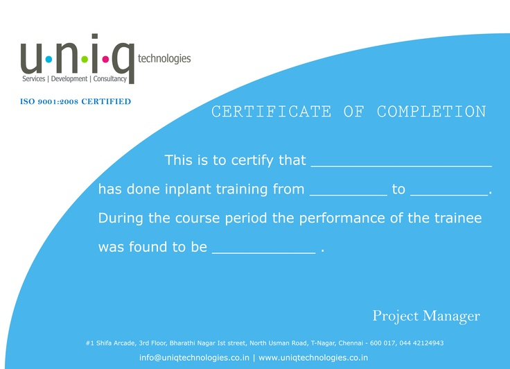 inplant training certificate format InPlantTrainingChennaiin - sample training certificate