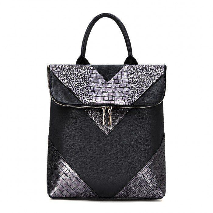 Black Leather-look Fold Top Backpack In Lizard Effect