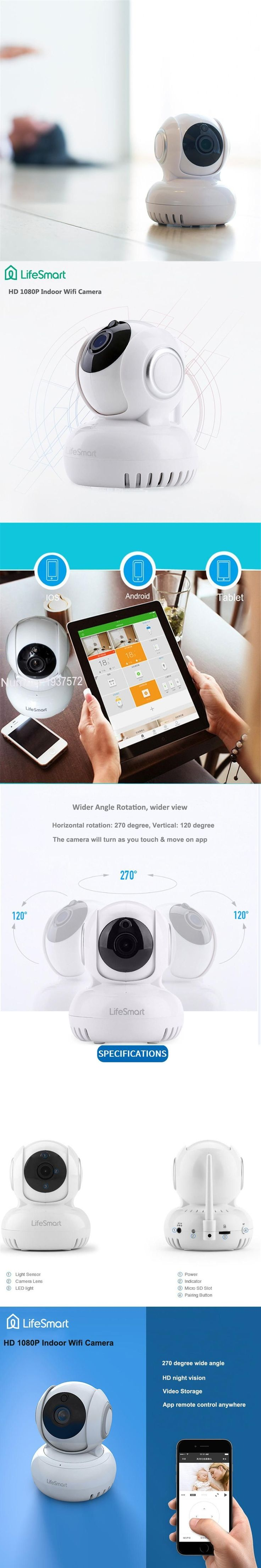 Lifesmart Home Automation Smart IP Camera Wifi Wireless Remote Control CCTV Camera for Security Alarm Night Vision 720P NTSC/PAL