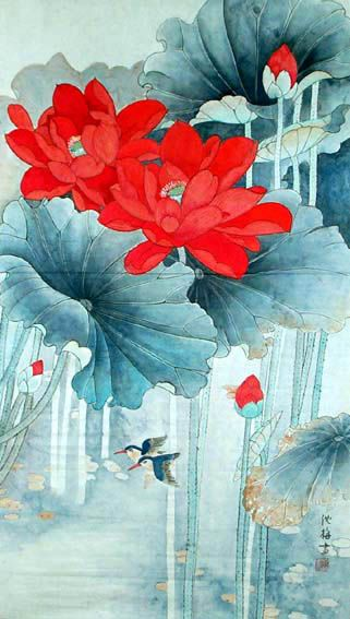 Shenmei Red Lotus - Chinese Watercolor Painting