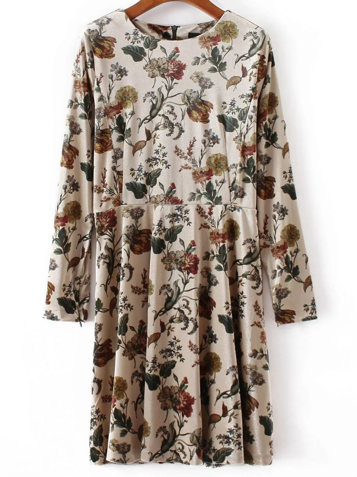 Buy Apricot Floral Print Velvet Dress from abaday.com, FREE shipping Worldwide - Fashion Clothing, Latest Street Fashion At Abaday.com