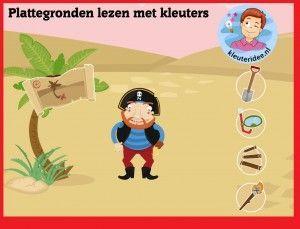 Plattegronden lezen met kleuters op digibord of computer op kleuteridee.nl - Kindergarten math for IBW or computer