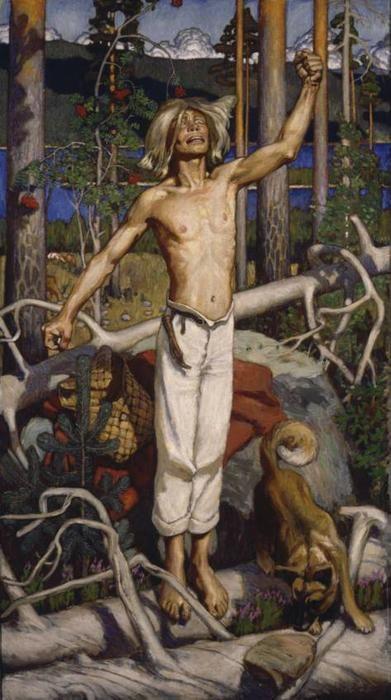 Kullervo's curse, Oil by Akseli Gallen Kallela (1865-1931, Finland)