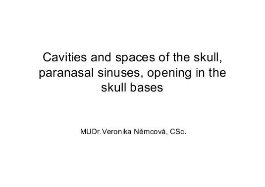 Cavities and spaces of the skull, paranasal sinuses, opening in the ... https://www.yumpu.com/en/document/view/11453542/cavities-and-spaces-of-the-skull-paranasal-sinuses-opening-in-the-