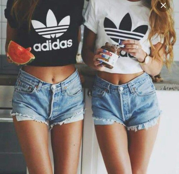 Top: adidas, adidas top, crop tops, black and white, black, white, black adidas…