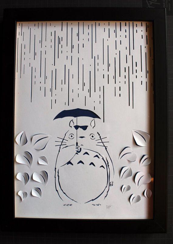 Tableau Totoro papier découpé blanc, papercut sur fond papier couleur fait main…