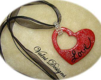 Amor collar, collar del corazón, rojo y plata, brillo de plata, collar de organza Negro, hecho a mano, Porcelana Fría
