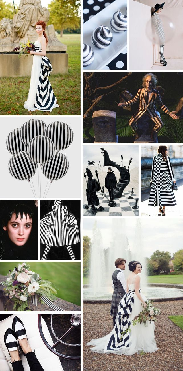 Our moodboard today is inspired by Tim Burton's creepy cult classic, Beetlejuice, packed with black and white striped wedding inspiration. As seen in this moodboard, bold black and white stripes can make a really striking theme for a contemporary, minimalist wedding.