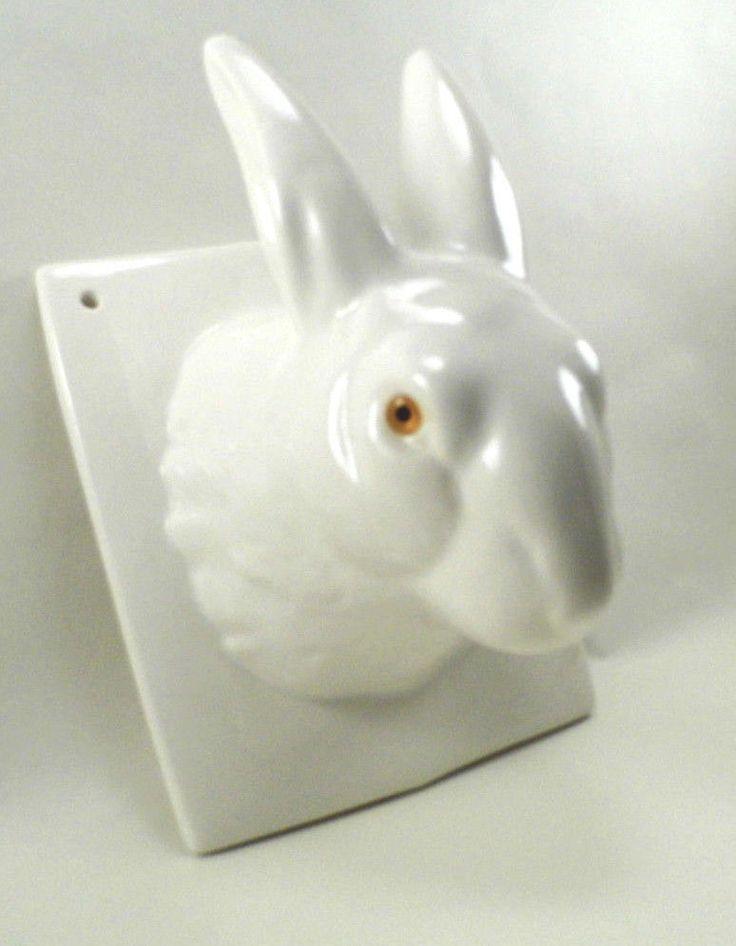 Vintage Ceramic Rabbit Head Wall Hanging Towel Holder