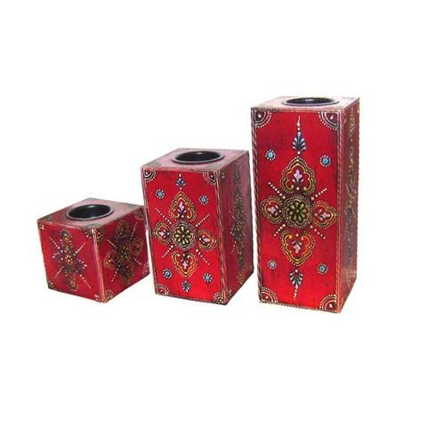 Wooden Andique Handpainted Piller Tea Light Holder Set Of Three - FOLKBRIDGE.COM | Buy Gifts. Indian Handicrafts. Home Decorations.
