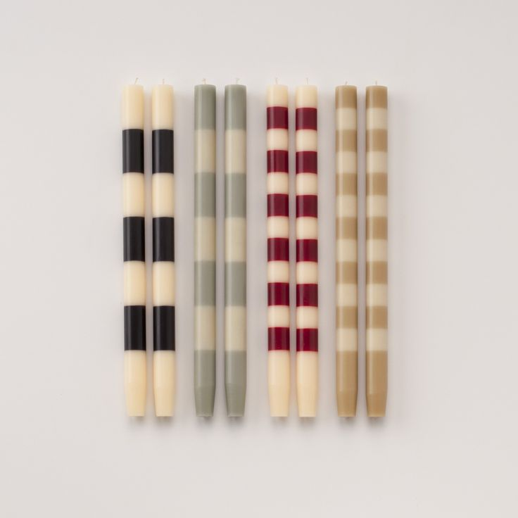 Ana Striped Taper Candles   Schoolhouse Electric & Supply Co.