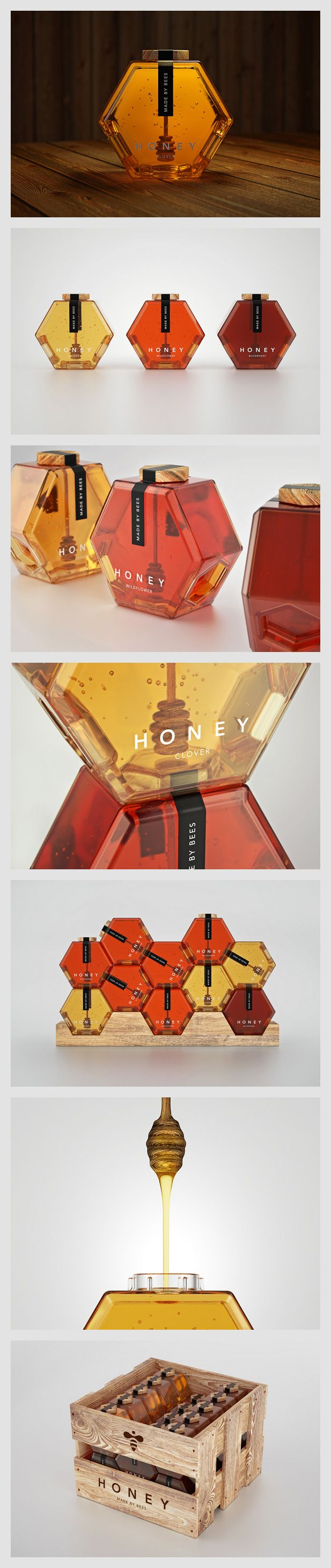 Honey Packaging Concept by Maksim Arbuzov. #Honey #Packaging #Advertising #Design