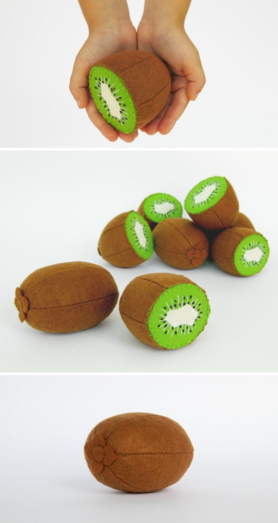 Baby toys Kiwi whole and half Stuffed plush toys Eco friendly baby toy fruits Baby shower gift Natural toys Soft toys for baby Unique toys
