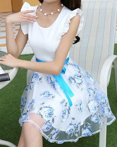 $11.48 Stylish Flower Print Scoop Neck Sleeveless Dress For Women