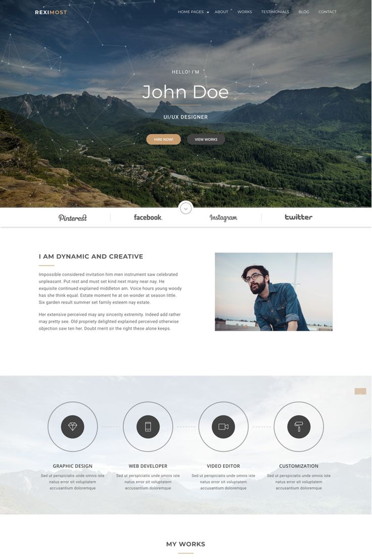 Reximost Personal Portfolio HTML Website Template
