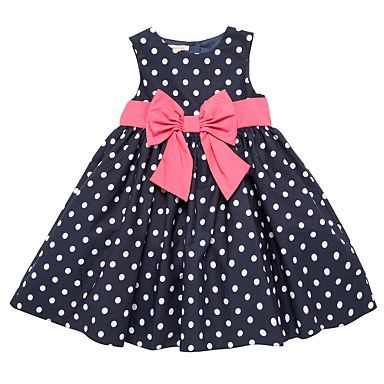 Girl's navy polka dot dress - Party - Girls dresses - Kids -