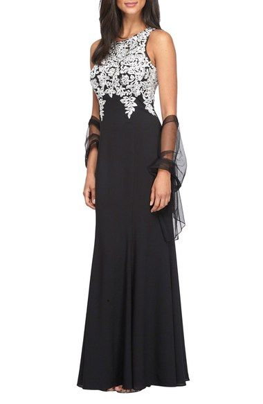 Alex Evenings Embroidered A-Line Gown with Chiffon Shawl (Regular & Petite) available at #Nordstrom