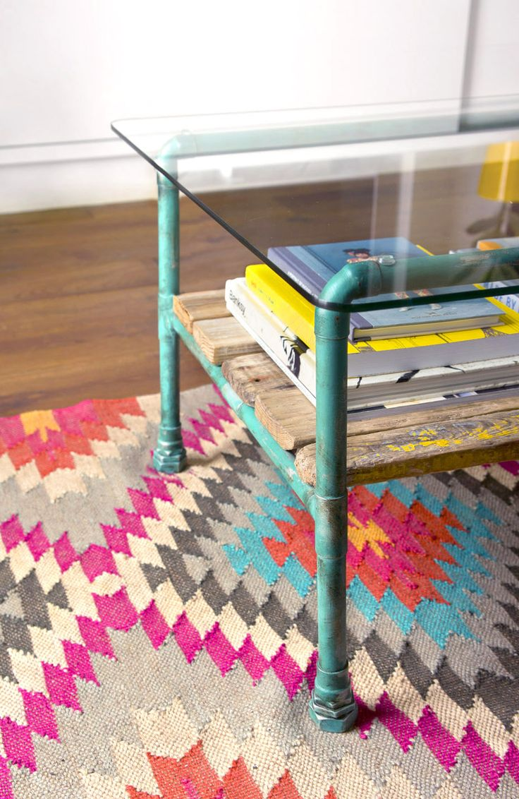 DIY mesa de centro con tubos de cobre