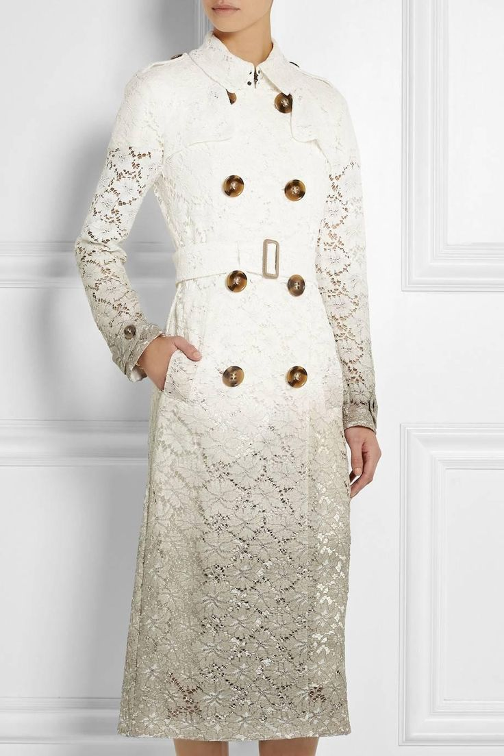Burberry Prorsum Beige Dip Dye Dégradé Lace Trench Coat 44 UK 14  | From a collection of rare vintage coats and outerwear at https://www.1stdibs.com/fashion/clothing/coats-outerwear/
