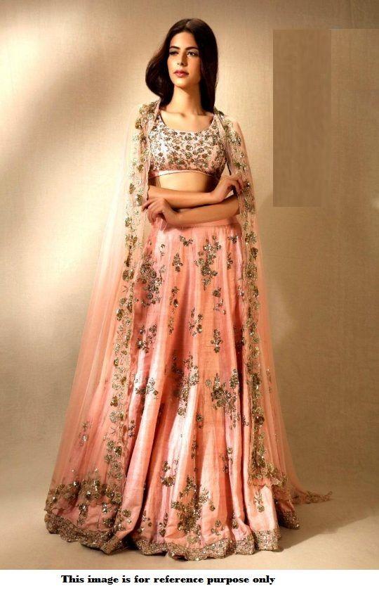 32dfcb9f4c Buy Bollywood model peach color mulberry silk wedding lehenga choliin UK,  USA and Canada in 2019 | Bollywood Lehengas | Designer bridal lehenga,  Party wear ...