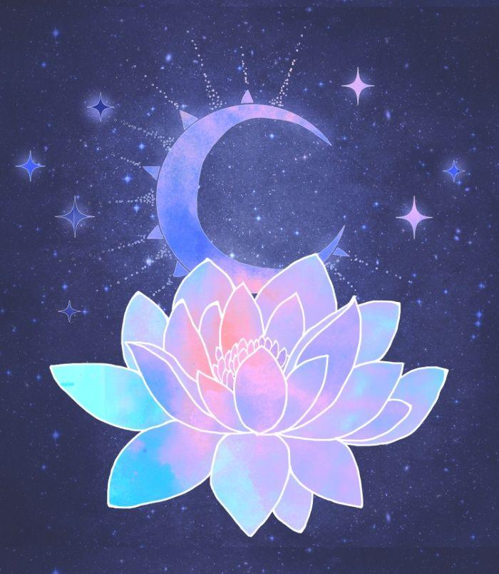 Lotus Flower Art moon lotus flow...