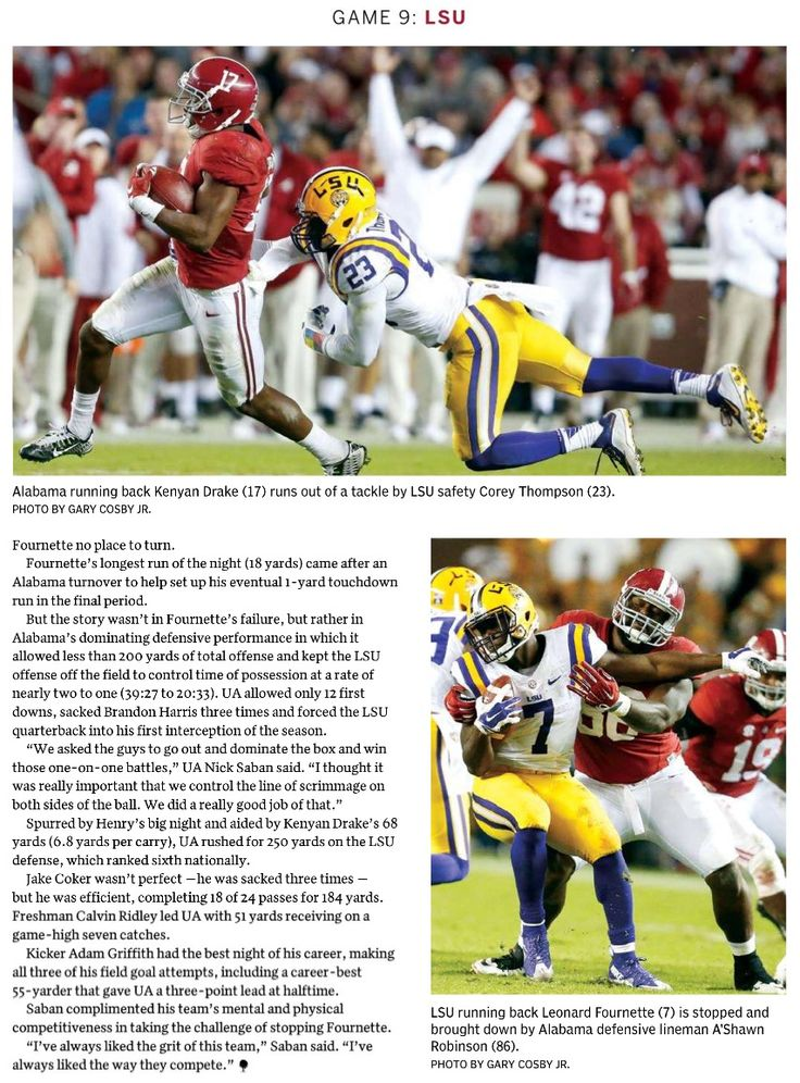 Kenyan Drake rushes for 68 yds and Henry gets 210, while the Bama D held Fournette to 31 yds as Bama dominates LSU 30 - 16 | from the Tuscaloosa Magazine special edition 2016 by the Tuscaloosa News #Alabama  #RollTide #Bama #BuiltByBama #RTR  #CrimsonTide #RammerJammer #NationalChampions