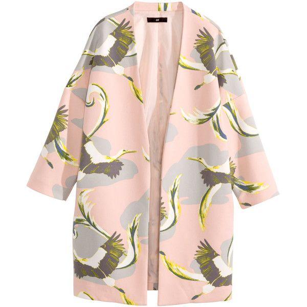 H&M Short coat ($31) ❤ liked on Polyvore featuring outerwear, coats, jackets, coats & jackets, casacos, h&m coats, pink coat, h&m и short coat