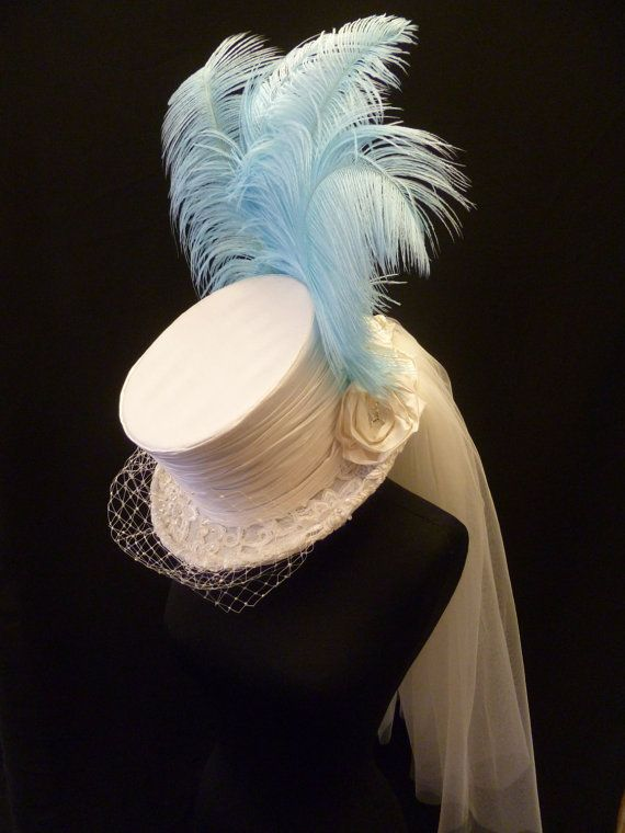 Victorian Gothic Feather Wedding Top Hat by DelltonCouture on Etsy, £199.00