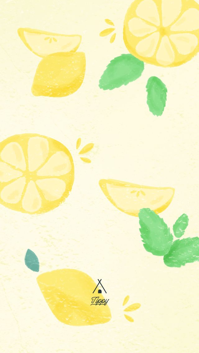 Watercolor Summer Lemon iPhone Wallpaper Lock Screen @PanPins