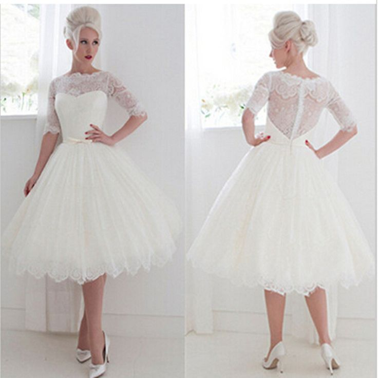 Купить товарПотрясающие длиной до колен белые кружева полный свадебные платья 2015 свадебные платья noiva line половины рукав совок свадебные платья в категории Свадебные платьяна AliExpress.                             Фото посмотреть:                               Если вы хотите нестандартный,  Пожалуйста, вы