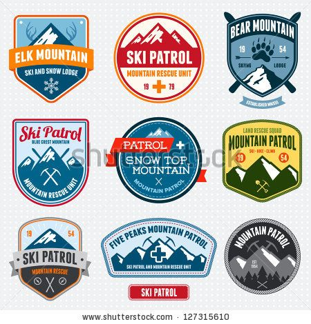 Set of ski patrol mountain badges and logo patches by Mike McDonald, via Shutterstock