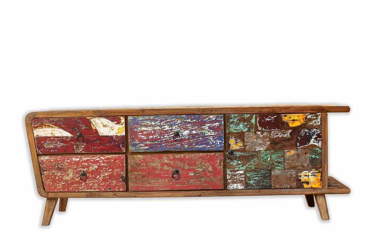 63 best meubles en bois de bateau recycl old boat for Meuble tv hauteur 50 cm