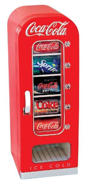 It's a small vending machine fridge that holds up to 10 cans.  This would be perfect for my desk!