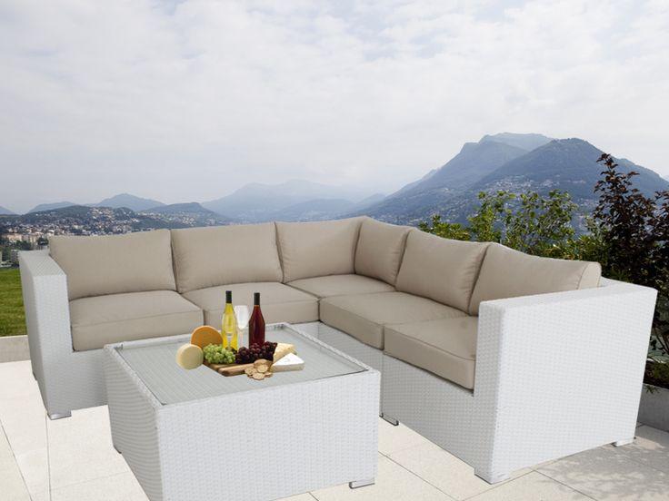 White Ellana Outdoor Corner Lounge Suite